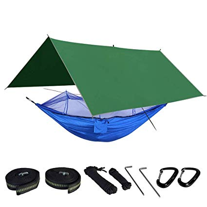 BESMILE Camping Hammock Includes Mosquito Net, Rain Fly, Tree Straps, and Compression Sack review