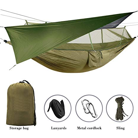 Elevens Outdoor Mosquito Net Hammock with Waterproof Sunshine Tent Rain Fly Tent Tarp review