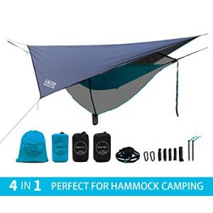 LAZZO Camping Hammock Including Mosquito Net, Rain Fly, Tree Straps, Backpack review